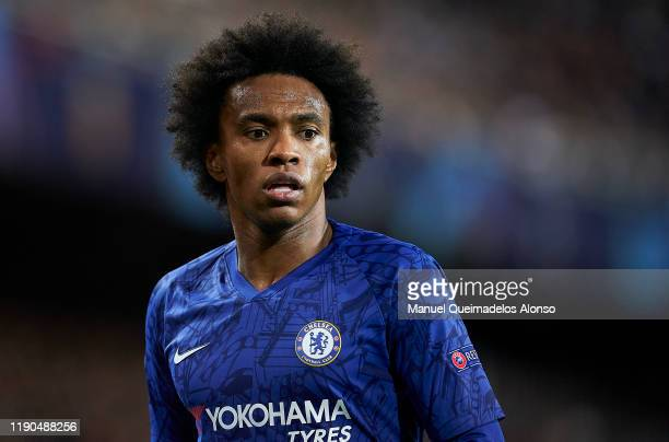 Willian Borges da Silva of Chelsea looks on during the UEFA Champions League group H match between Valencia CF and Chelsea FC at Estadio Mestalla on...
