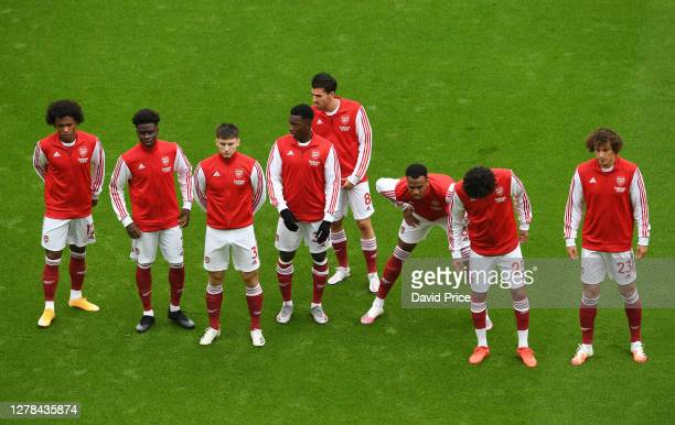 Willian Bukayo Saka Kieran Tierney Eddie Nketiah Dani Ceballos Gabriel Magalhaesm Mohamed Elneny and David Luiz of Arsenal before the Premier League...