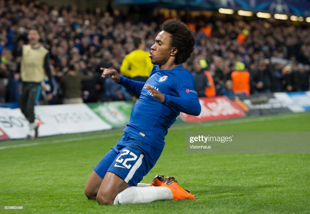 Willian celebrates scoring for Chelsea during the UEFA Champions League Round of 16 First Leg match between Chelsea FC and FC Barcelona at Stamford Bridge on February 20, 2018 in London, England.
