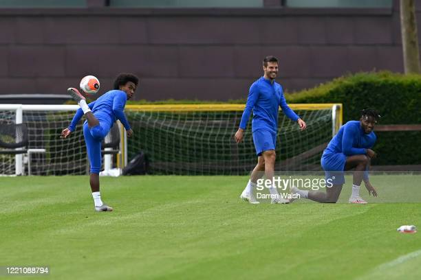Willian Cesar Azpilicueta and Michy Batshuayi of Chelsea during a training session at Chelsea Training Ground on June 19 2020 in Cobham England
