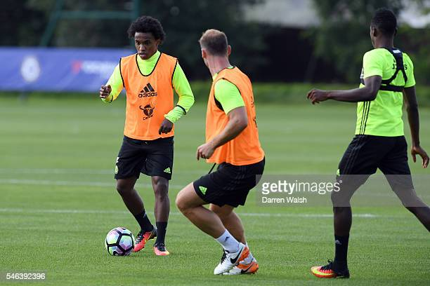 Willian during a Chelsea training session at Chelsea Training Ground on July 12 2016 in Cobham England