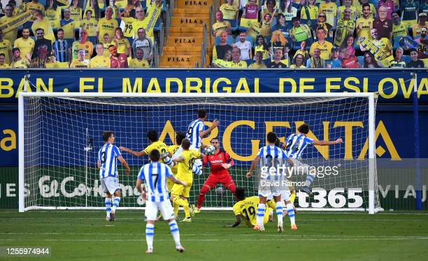 Willian José of Real Sociedad scores the opening goal during the Liga match between Villarreal CF and Real Sociedad at Estadio de la Ceramica on July...