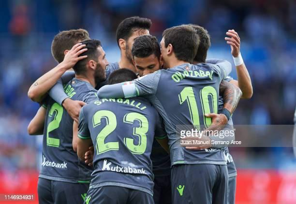 Willian Jose Da Silva of Real Sociedad celebrates after scoring goal during the La Liga match between Deportivo Alaves and Real Sociedad at Estadio...