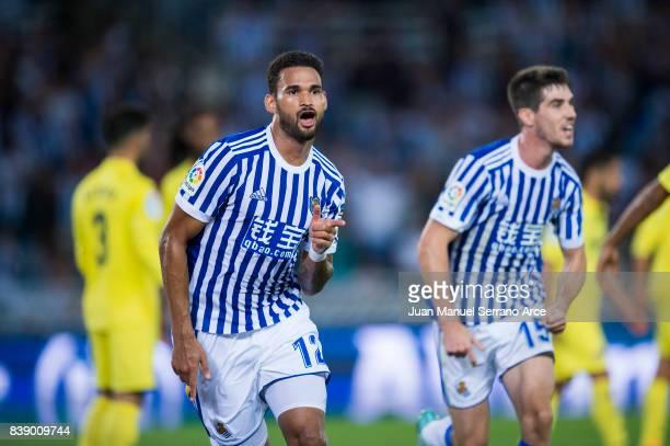 Willian Jose Da Silva of Real Sociedad celebrates after scoring goal during the La Liga match between Real Sociedad de Futbol and Villarreal CF at...
