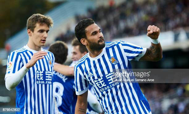 Willian Jose Da Silva of Real Sociedad celebrates after scoring goal during the La Liga match between Real Sociedad de Futbol and UD Las Palmas at...