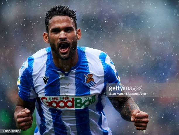 Willian Jose Da Silva of Real Sociedad celebrates after scoring his team's second goal during the Liga match between Real Sociedad and Real Betis...