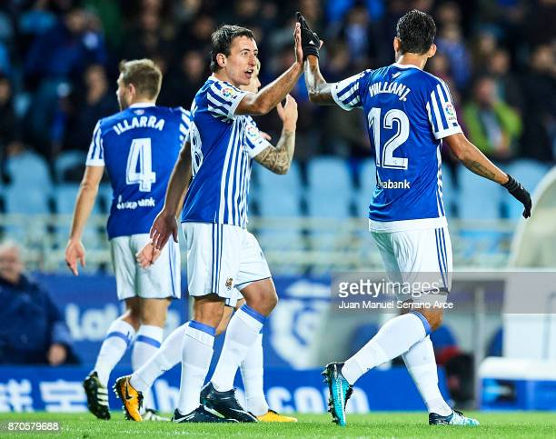 Willian Jose Da Silva of Real Sociedad celebrates after scoring the first goal for Real Sociedad with his team mate Mikel Oyarzabal of Real Sociedad...