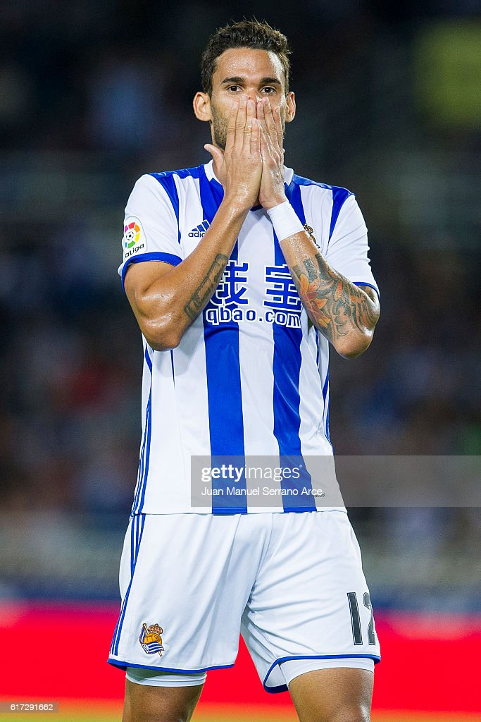 Willian Jose Da Silva of Real Sociedad reacts during the La Liga match between Real Sociedad de Futbol and Deportivo Alaves at Estadio Anoeta on October 22, 2016 in San Sebastian, Spain.