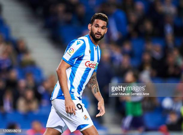 Willian Jose Da Silva of Real Sociedad reacts during the Liga match between Real Sociedad and Real Valladolid CF at Estadio Anoeta on February 28...