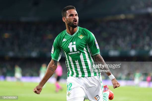 Willian Jose of Real Betis celebrates after scoring their side's first goal during the LaLiga Santander match between Real Betis and Getafe CF at...