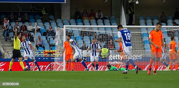 Willian Jose of Real Sociedad celebrates his goal after scoring during the Spanish league football match between Real Sociedad and Valencia at the...