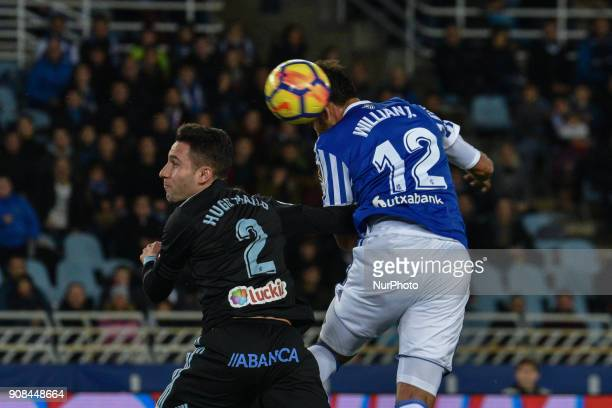 Willian Jose of Real Sociedad duels for the ball with Hugo Mallo of Celta during the Spanish league football match between Real Sociedad and Celta at...