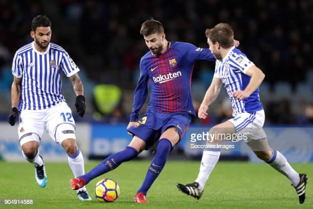 Willian Jose of Real Sociedad Gerard Pique of FC Barcelona Asier Illarramendi of Real Sociedad during the La Liga Santander match between Real...