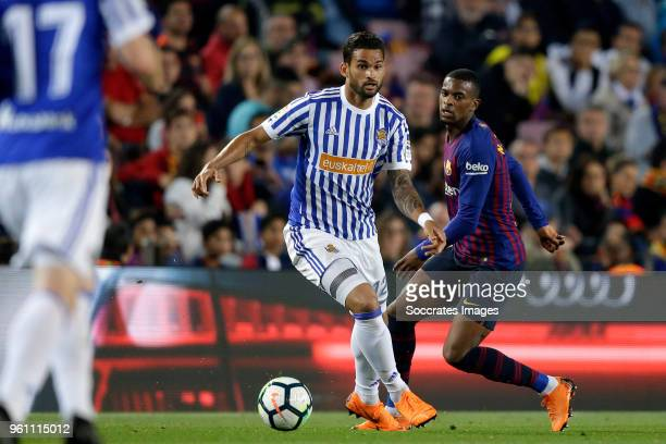 Willian Jose of Real Sociedad Nelson Semedo of FC Barcelona during the La Liga Santander match between FC Barcelona v Real Sociedad at the Camp Nou...