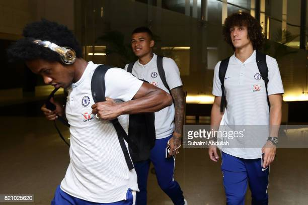 Willian Kenedy and David Luiz of Chelsea FC arrive at Jet Quay Private Terminal ahead of the International Champions Cup on July 23 2017 in Singapore