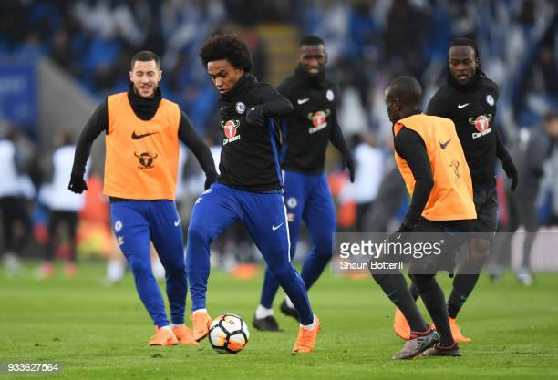 Willian N'Golo Kante Victor Moses Antonio Rudiger and Eden Hazard of Chelsea arm up prior to The Emirates FA Cup Quarter Final match between...
