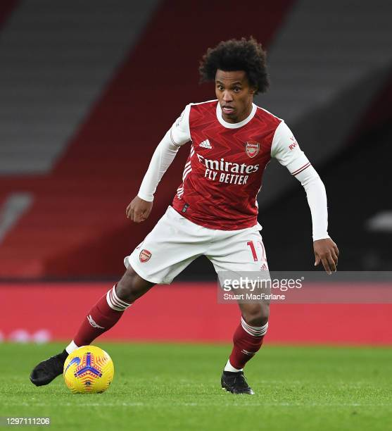 Willian of Arsenal controls the ball during the Premier League match between Arsenal and Newcastle United at Emirates Stadium on January 18, 2021 in...