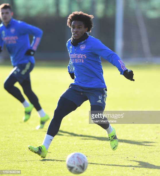 Willian of Arsenal during a training session at London Colney on January 22, 2021 in St Albans, England.