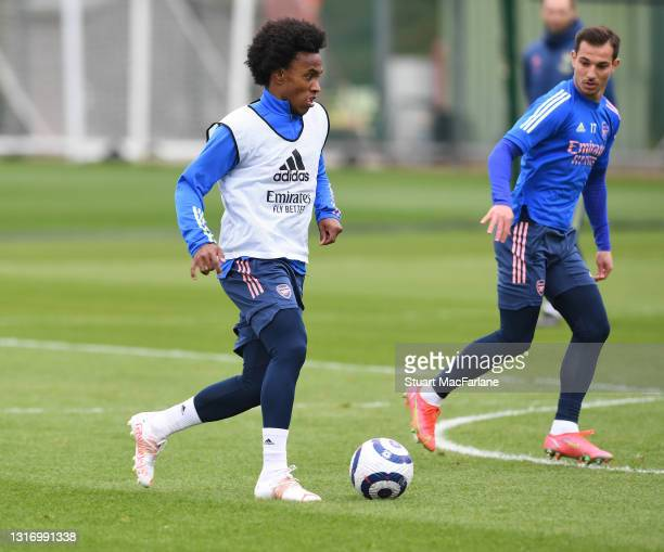 Willian of Arsenal during a training session at London Colney on May 08, 2021 in St Albans, England.
