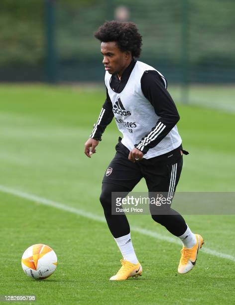 Willian of Arsenal during the Arsenal training session ahead of the UEFA Europa League Group B stage match between Arsenal FC and Dundalk FC at...