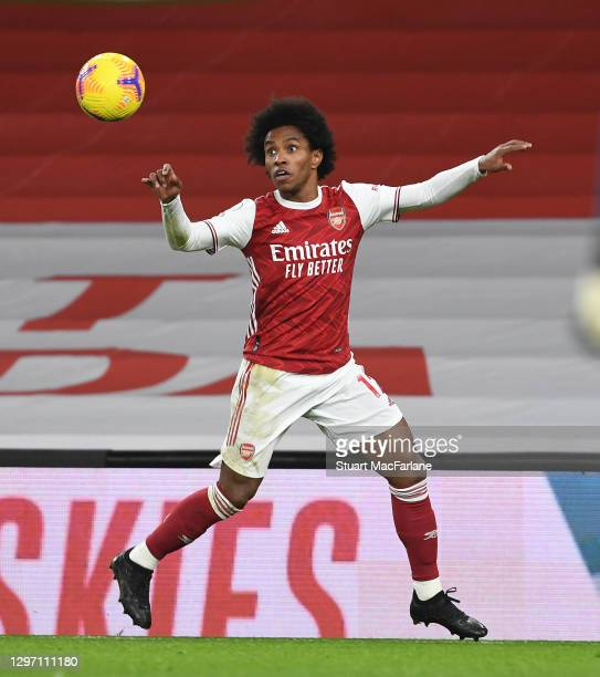 Willian of Arsenal during the Premier League match between Arsenal and Newcastle United at Emirates Stadium on January 18, 2021 in London, England....