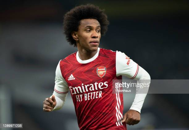 Willian of Arsenal in action during the Premier League match between Tottenham Hotspur and Arsenal at Tottenham Hotspur Stadium on December 6, 2020...