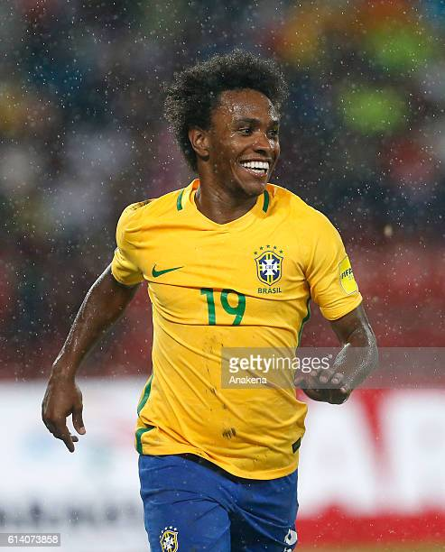 Willian of Brazil celebrates after scoring the second goal of his team during a match between Venezuela and Brazil as part of FIFA 2018 World Cup...