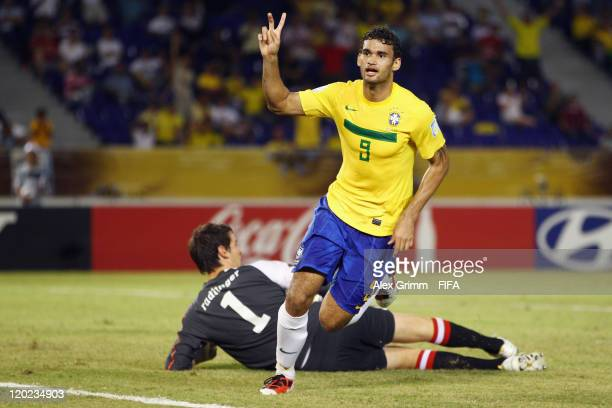 Willian of Brazil celebrates his team's third goal as goalkeeper Samuel Radlinger of Austria reacts during the FIFA U20 World Cup Group E match...