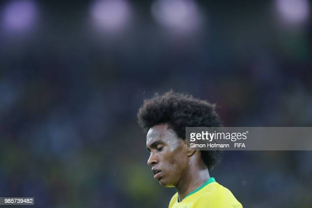 Willian of Brazil looks on during the 2018 FIFA World Cup Russia group E match between Serbia and Brazil at Spartak Stadium on June 27, 2018 in...