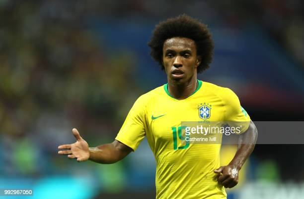 Willian of Brazil looks on during the 2018 FIFA World Cup Russia Quarter Final match between Brazil and Belgium at Kazan Arena on July 6 2018 in...