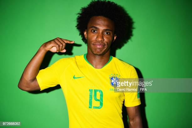 Willian of Brazil poses during the official FIFA World Cup 2018 portrait session at the Brazil Team Camp on June 12 2018 in Sochi Russia
