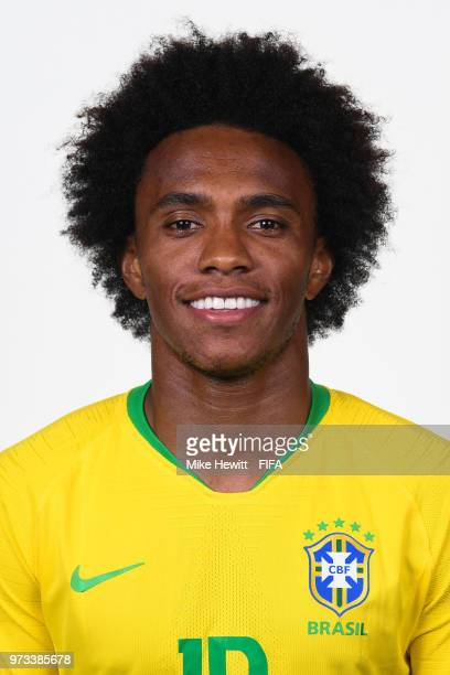 Willian of Brazil poses for a portrait during the official FIFA World Cup 2018 portrait session at the Brazil Team Camp on June 12 2018 in Sochi...