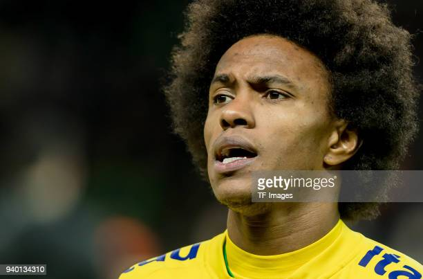 Willian of Brazil sings the National Anthem prior to the international friendly match between Germany and Brazil at Olympiastadion on March 27 2018...