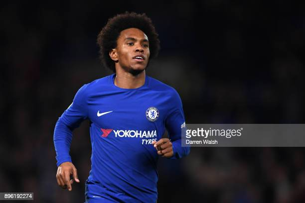 Willian of Chelsea after scoring his sides first goal during the Carabao Cup QuarterFinal match between Chelsea and AFC Bournemouth at Stamford...