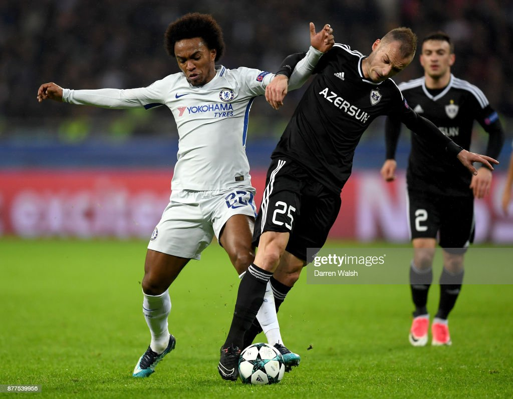 Willian of Chelsea and Ansi Agolli of Qarabag FK battle for... News Photo - Getty Images