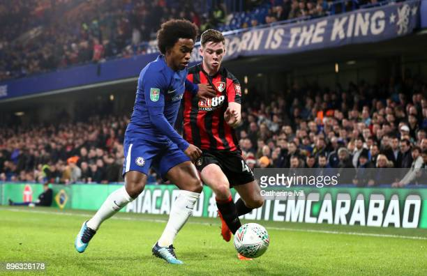 Willian of Chelsea and Jack Simpson of AFC Bournemouth during the Carabao Cup QuarterFinal match between Chelsea and AFC Bournemouth at Stamford...