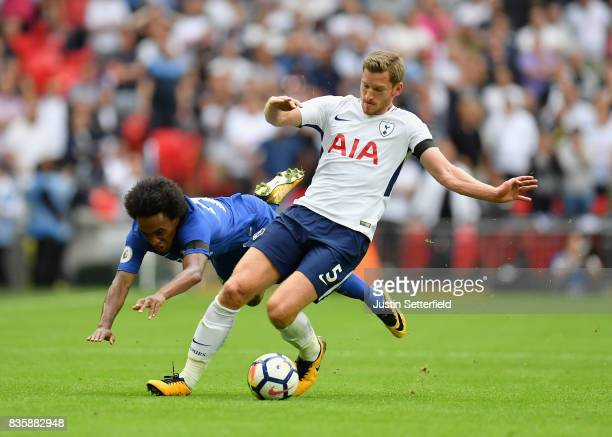 Willian of Chelsea and Jan Vertonghen of Tottenham Hotspur battle for possession during the Premier League match between Tottenham Hotspur and...