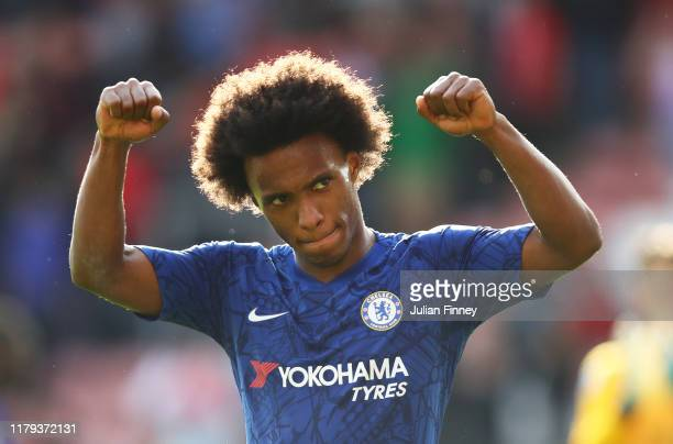 Willian of Chelsea applauds fans after the Premier League match between Southampton FC and Chelsea FC at St Mary's Stadium on October 06 2019 in...