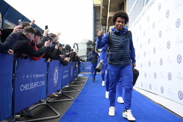 Willian of Chelsea arrives at the stadium prior to the Premier League match between Chelsea FC and Everton FC at Stamford Bridge on March 08 2020 in...