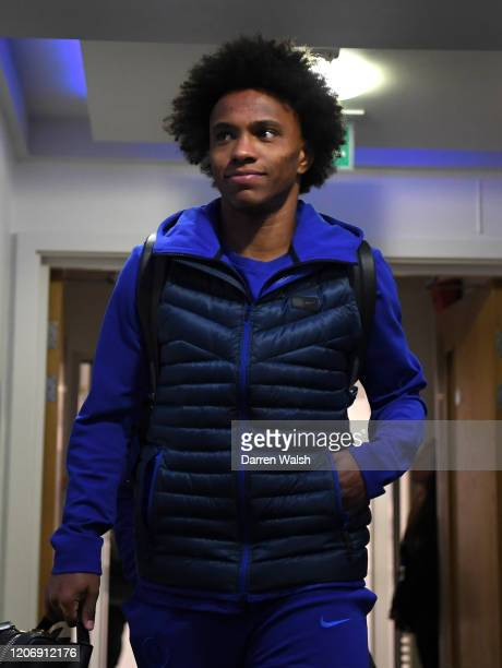 Willian of Chelsea arrives prior to the Premier League match between Chelsea FC and Manchester United at Stamford Bridge on February 17 2020 in...