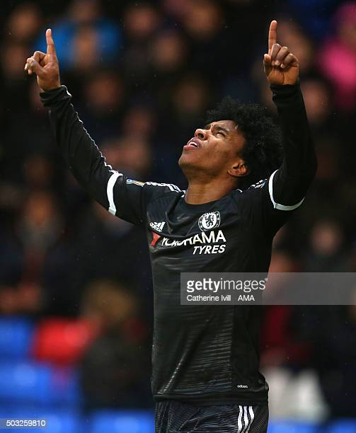 Willian of Chelsea celebrates after he scored their second goal during the Barclays Premier League match between Crystal Palace and Chelsea at...