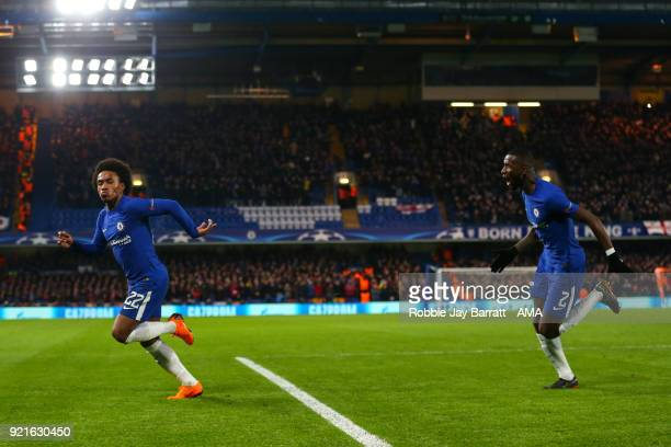 Willian of Chelsea celebrates after scoring a goal to make it 10 during the UEFA Champions League Round of 16 First Leg match between Chelsea FC and...