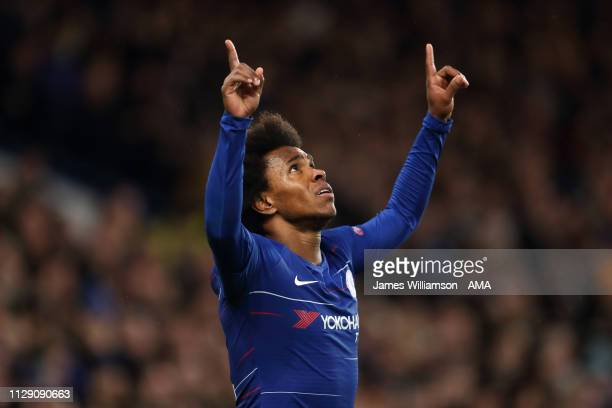 Willian of Chelsea celebrates after scoring a goal to make it 20 during the UEFA Europa League Round of 16 First Leg match between Chelsea and Dynamo...