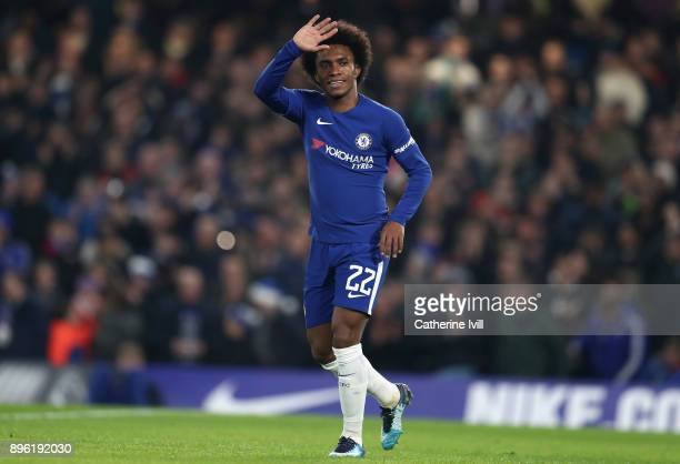 Willian of Chelsea celebrates after scoring his sides first goal during the Carabao Cup QuarterFinal match between Chelsea and AFC Bournemouth at...