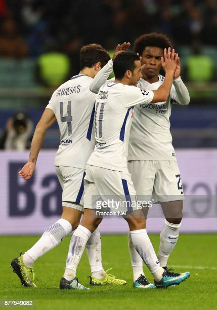 Willian of Chelsea celebrates after scoring his sides fourth goal with Pedro of Chelsea and Cesc Fabregas of Chelsea during the UEFA Champions League...