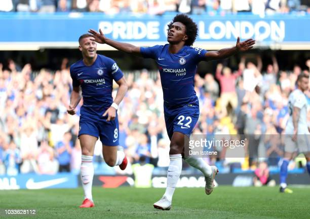 Willian of Chelsea celebrates after scoring his team's fourth goal during the Premier League match between Chelsea FC and Cardiff City at Stamford...