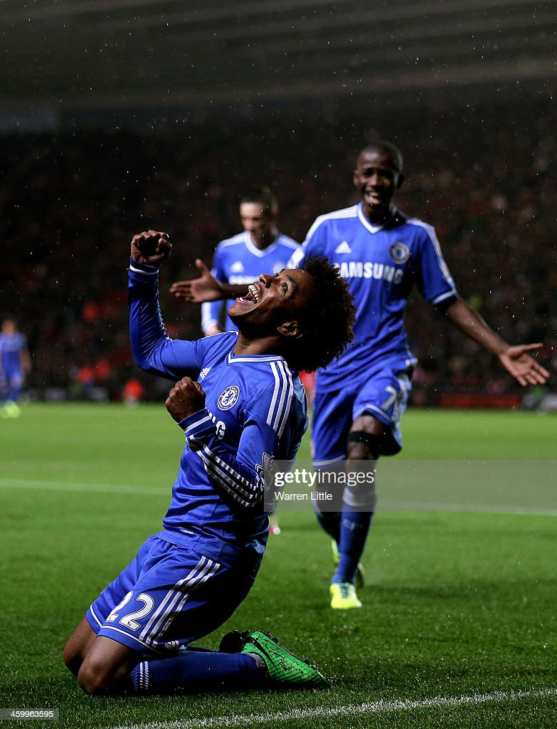 Willian of Chelsea celebrates after scoring his team's second goal during the Barclays Premier League match between Southampton and Chelsea at St Mary's Stadium on January 1, 2014 in Southampton, England.