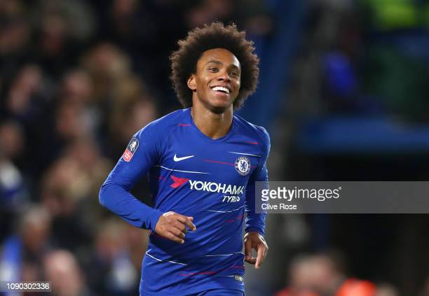 Willian of Chelsea celebrates after scoring his team's third goal during the FA Cup Fourth Round match between Chelsea and Sheffield Wednesday at...