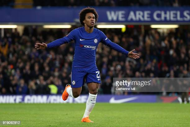 Willian of Chelsea celebrates after scoring the opening goal of the game during The Emirates FA Cup Fifth Round match between Chelsea and Hull City...