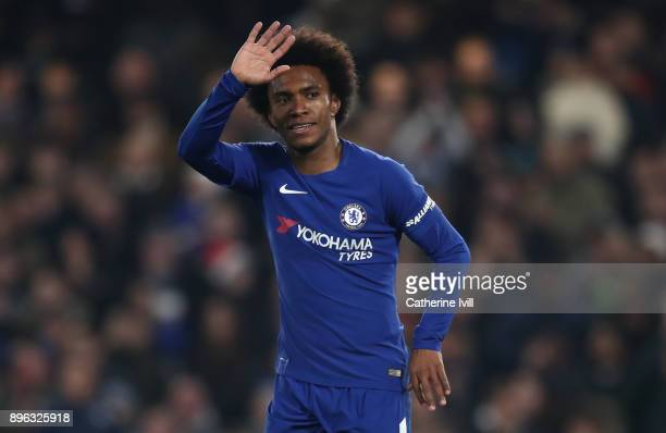 Willian of Chelsea celebrates during the Carabao Cup QuarterFinal match between Chelsea and AFC Bournemouth at Stamford Bridge on December 20 2017 in...